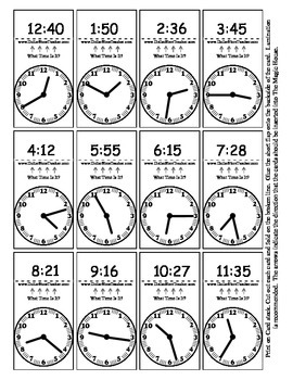 Random Telling Time - Clock Reading - Magic House Pieces - 24 cards