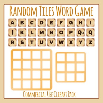 Random Tiles Game - Similar to Boggle or Boggle Like - Commercial Use Clip Art