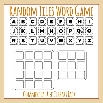 Random Word Game BW- Similar to Boggle or Boggle Like - Commercial Use Clip Art