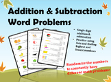 Addition & Subtraction Math Word Problems