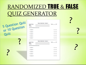 Randomized True & False Quiz Generator by Pedro Gonzalez | TpT