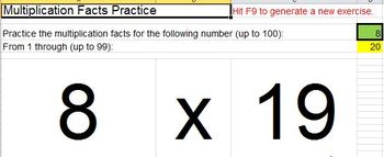 EXCEL Randomized Whole Number Addition and Multiplication Facts Practice