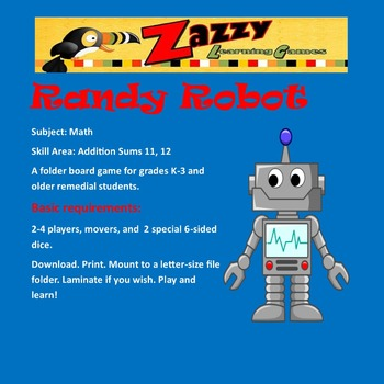 Randy Robot Folder Game -- Addition sums 11, 12