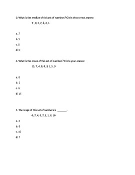 Range, Mean, Median, Mode Quiz