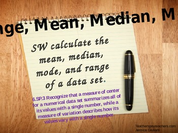 Range, Mean, Median, Mode with M&Ms POWERPOINT version