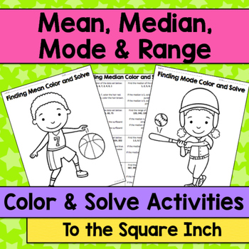 Range, Mean, Median and Mode Color and Solve