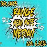 Range, Mean, Mode and Median Task Cards