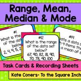 Range, Mean, Median and Mode Task Cards
