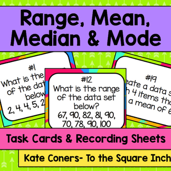 Range, Mean, Median and Mode Task Cards