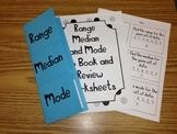 Range Median Mode Flip Book and Review Worksheets