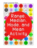 Range, Median, Mode, Mean Activity PDF Printable Average Statistics Algebra I