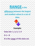 Range, Median, Mode, and Mean Posters Chevron