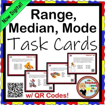 Range, Median, and Mode Task Cards - 20 Cards w/ QR Codes!