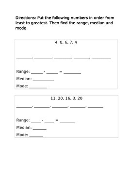 Range, Median and Mode worksheet