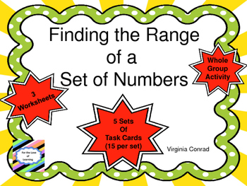Range:  Task Cards and More For Finding the Range of A Set of Numbers
