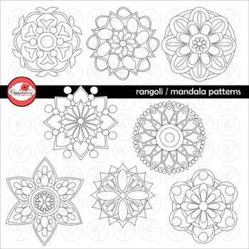 Rangoli Mandala Geometric Circle Pattern Clipart by Poppydreamz