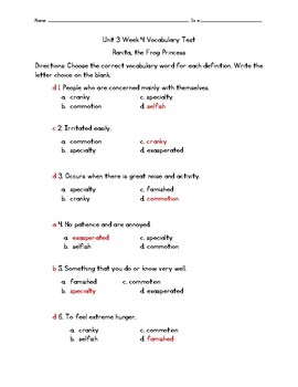 Ranita, the Frog Princess Vocabulary Test