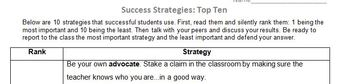 Ranking Student Success Strategies