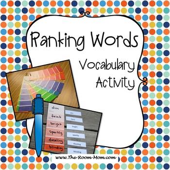 Ranking Words Vocabulary Activity (freebie)