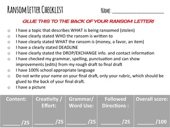 """Ransom Letter Assignment (short story: """"The Ransom of Red Chief"""")"""