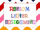 "Ransom Letter Assignment (short story: ""The Ransom of Red Chief"")"