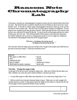 Ransom Note Chromatography Lab - forensics