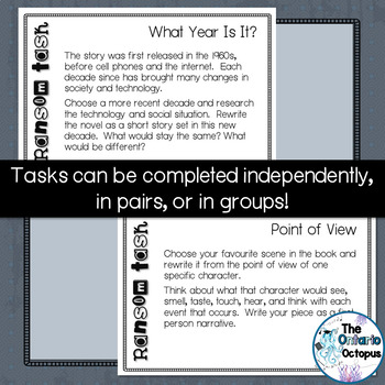 Ransom by Lois Duncan - Extension Activity Task Cards