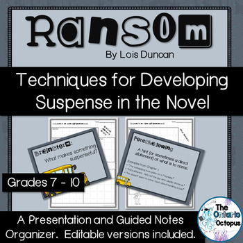 Ransom by Lois Duncan - Suspense Presentation and Notes Pages EDITABLE