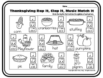 Rap It, Clap It, Music Match It: Thanksgiving