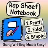 Rap Sheet Notebook - Song Writing Made Easy! ~ Print, Fold, Staple! ~