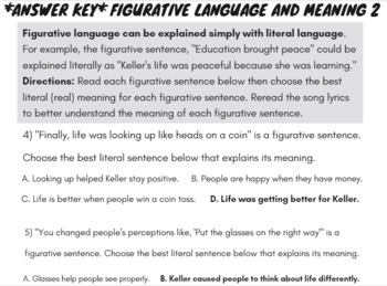 Rap Song with Figurative Language: Figurative Language Activities and Worksheets