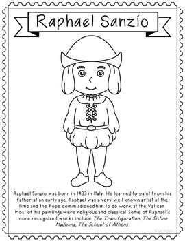 Raphael Sanzio, Famous Artist Informational Text Coloring Page Craft