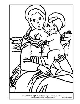 Raphael.  Small Cowper Madonna.  Coloring page & lesson plan ideas