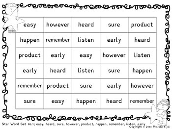 Rapid Automatic Naming Star Word Sheets Sets 16-20