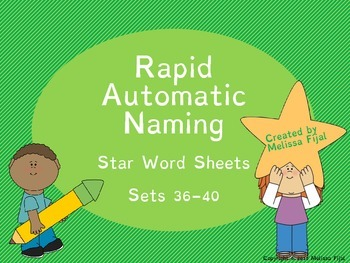 Rapid Automatic Naming Star Word Sheets Sets 36-40