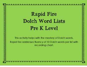 Rapid Fire Dolch Pre K Word Lists