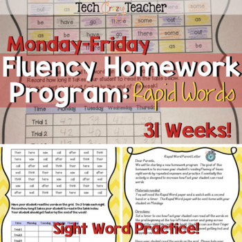 Sight Word Fluency Homework Program: Rapid Words (Monday-Friday)