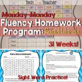 Sight Word Fluency Homework Program: Rapid Words (Monday-Monday)