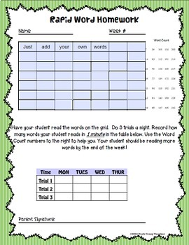 Sight Word Homework Program: Rapid Word (1 Minute Timed)