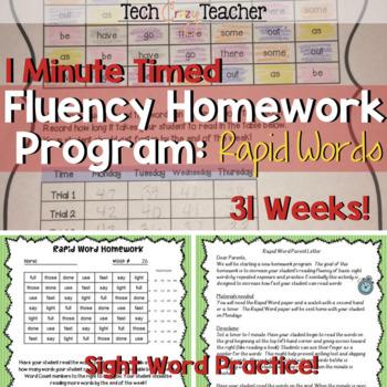Sight Word Homework Program: Rapid Word (1 Minute Timed)