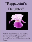 """Rappaccini's Daughter"" :Printable Word Wall/Constructed Response/Co-operative"