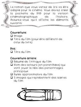 Rapport de lecture: pochette de DVD/ French Book Report DVD Cover