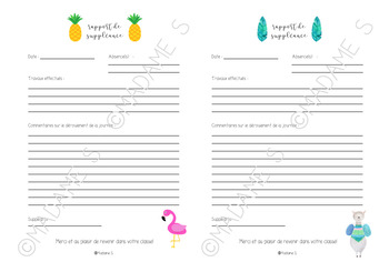 Rapport de suppléance / Substitute teacher report