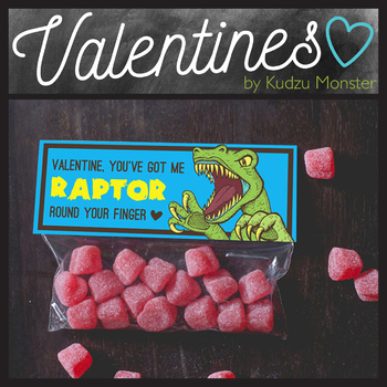 Raptor Dinosaur Valentine Treat Topper
