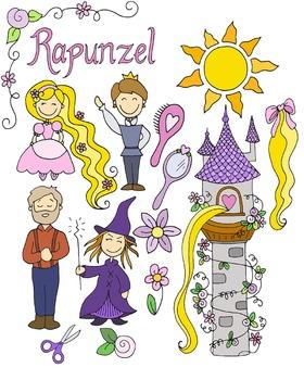 Rapunzel Fairytale Clipart Set {KT Creates Original}