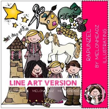 Rapunzel clip art - LINE ART- by Melonheadz