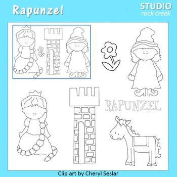 Rapunzel Line Drawings Clip Art  C. Seslar tower flower mother