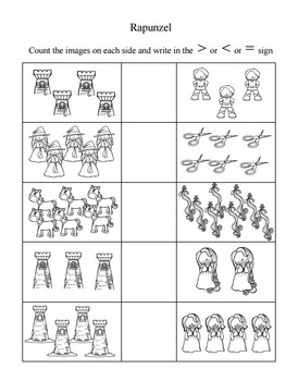 Math Worksheets Rapunzel Theme