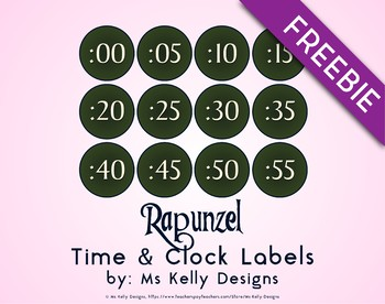 Rapunzel Time and Clock Labels