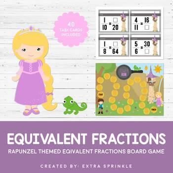 Disney Inspired Rapunzel Equivalent Fraction Board Game